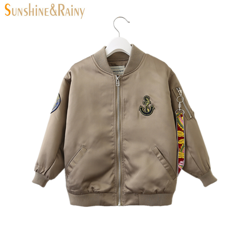 Clearance ~ Spring Boys Bomber Jackets And Coats Kids Anchored Embroidery Zipper Jacket For Boy Designer Kids Outerwear