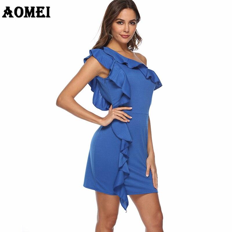 Party Tunique Mince Sexy Acheter Épaule Une Femmes Dress Mini Bleu SMVUqGLpz
