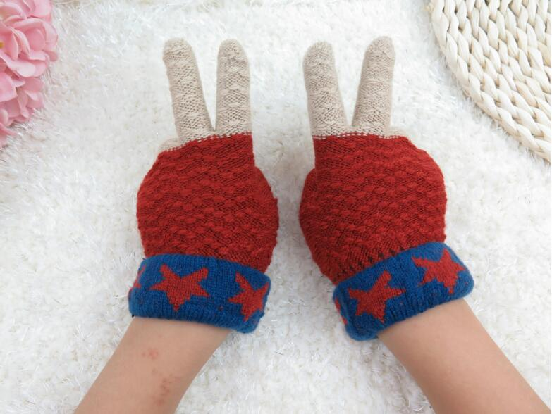Fashion Winter Women Colorful Gloves Warm Knitted Wool Female Touch Screen Mittens Designer Cute Full Finger Gloves For Women