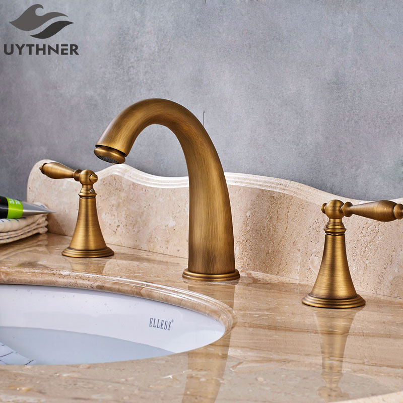 Uythner Big Discount 3pcs Arc-shaped Basin Faucet Double Handle Mixer Tap Antique Brass Finish колготки для девочки mark formelle цвет черный 700k 713 b2 8700k размер 128 134