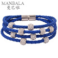 MANBALA Female New Magnetic Bracelet Crystal Ball PU Leather Bracelet with Rhinestone Royal Blue Rope Chain Bracelets 100CA15