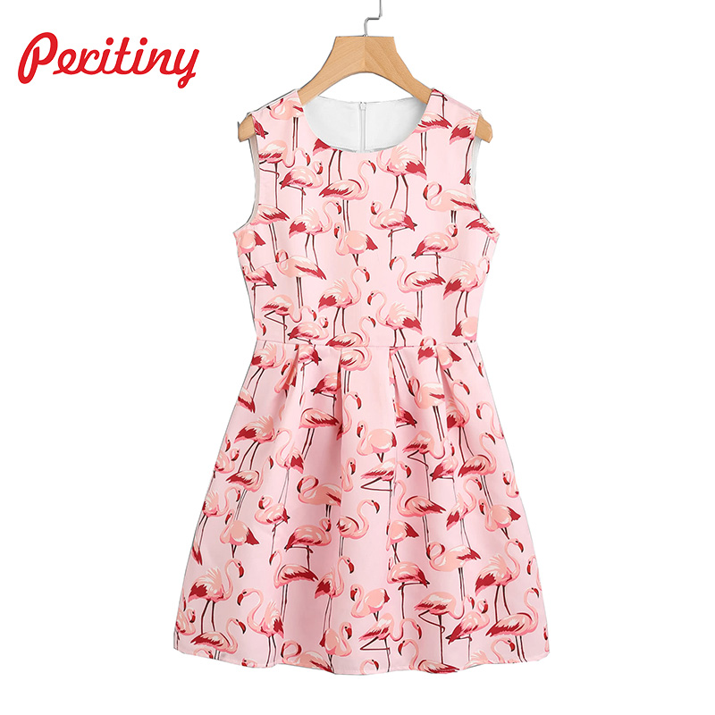 a5d1bdc1dfb Peritiny Casual Print Tank Dress High Waist Cute Bird A Line Sleeveless  Feminino Vestidos Flamingo Pattern 2018 Party Dresses-in Dresses from  Women s ...