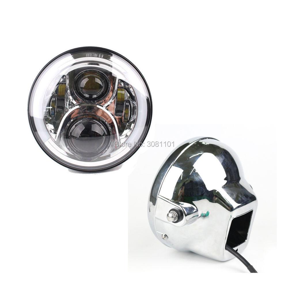 Chrome Set H4 7LED Round Headlight Projector Daymaker Halo Ring Plus Headlight Housing Bucket for 2014-2017 Indian Road Master 7pcs oem chrome headlight master window