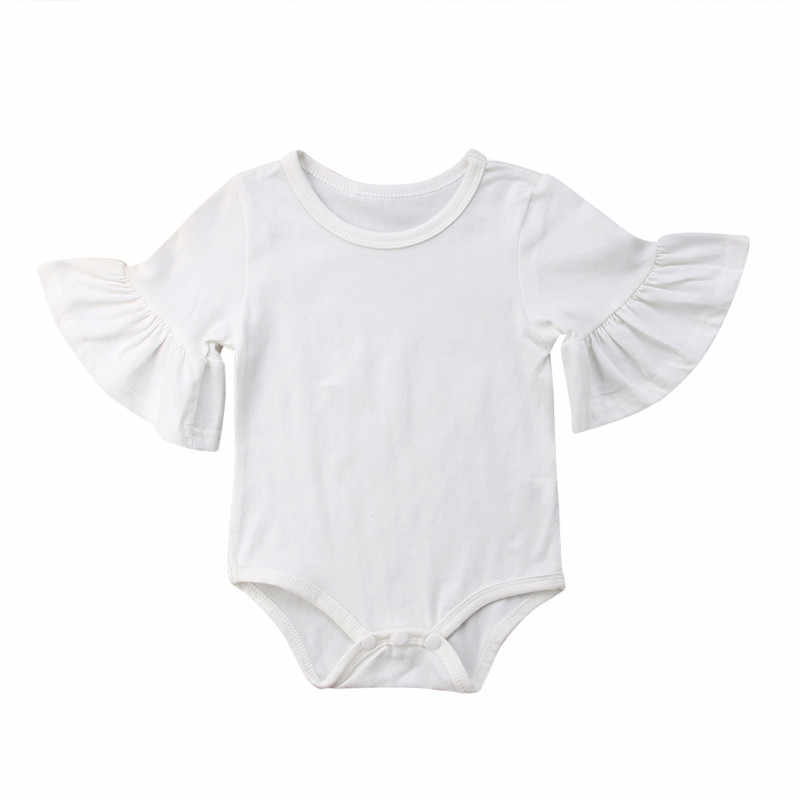 2018 Cute Baby Kids Girls Boys Solid Long Flare Sleeves O Neck Jumpasuit One Pieces Slim Bodysuit Outfits Party Cute Clothes