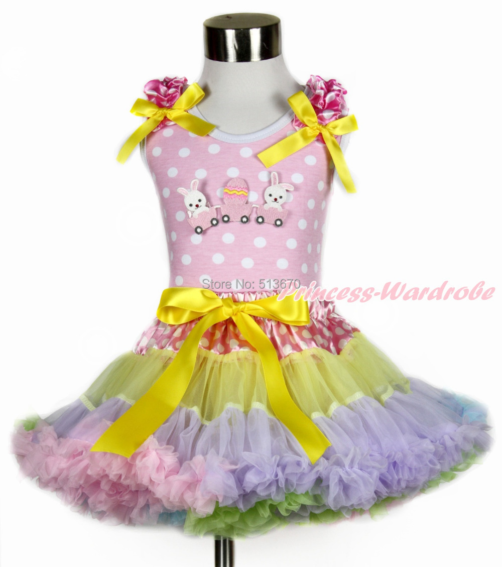 Easter Bunny Egg Pink White Dot Top White Dot Waist Rainbow Girl Pettiskirt 1-8Y MH202 цена и фото