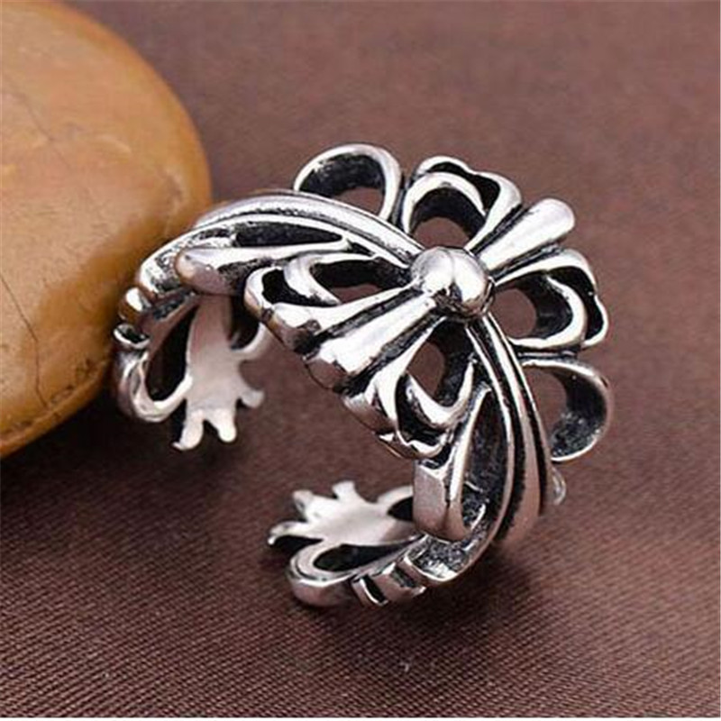 Vintage Black Big Cross Open Ring For Women Party Jewelry Men Trendy Gothic Silver Color Finger Ring C9 in Rings from Jewelry Accessories