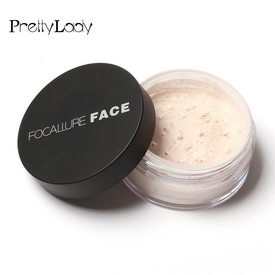 FOCALLURE Women Cosmetic Beauty Face Powder Waterproof Brighten Powder Skin Oil Control Long Lasting Finish Powder 3 Colors 3