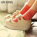 LIN KING Spring Autumn Women's Lolita Princess Bowtie Trifle Heel Dress Shoes Pumps Fashion Sweet Round Toe Buckle Lady Pumps