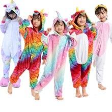 Купить с кэшбэком 22 New Unicorn Style Kids Pajamas Winter Flannel Animal Pikachu Pegasus Cat Boys Girls Pajamas Onesie Children Sleepwear