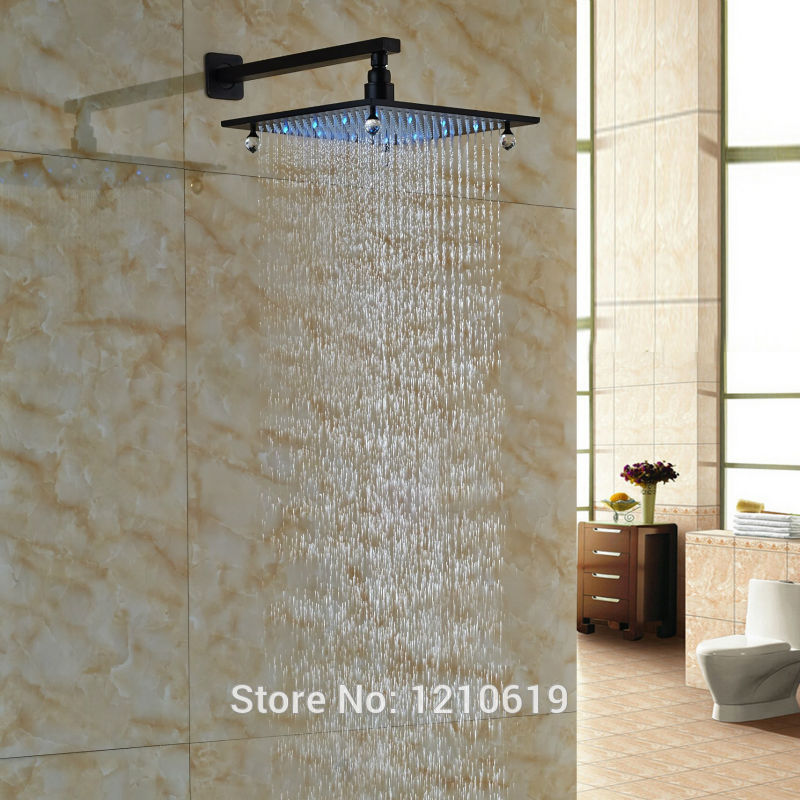 Newly 12 Inch Crystal Top Shower Sprayer w/ Arm Oil Rubbed Bronze LED Lights Shower Head Wall Mounted newly color changing led 16 rain shower head sprayer oil rubbed bronze top shower head w arm wall mount