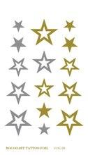 VHC08 Waterproof Tattoo Golden Gold Hollow Stars Face Fake Glitter Metallic Temporary Tattoo Stickers For Womens