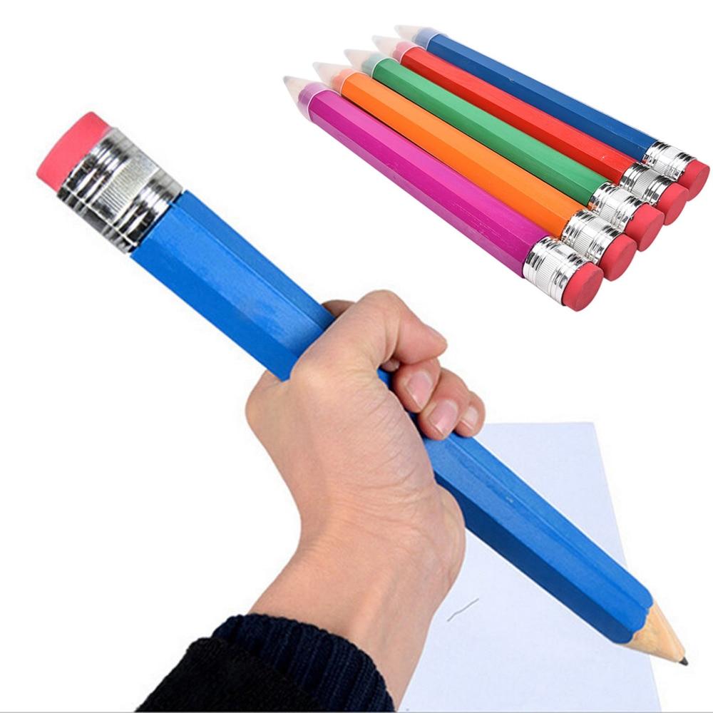 Ofis ve Okul Malzemeleri'ten Standart Kalemler'de 1 adet 35cm ahşap renkli el sanatları büyük kalem kalem işareti boyama okul ofis malzemeleri öğrenci kırtasiye hediye title=