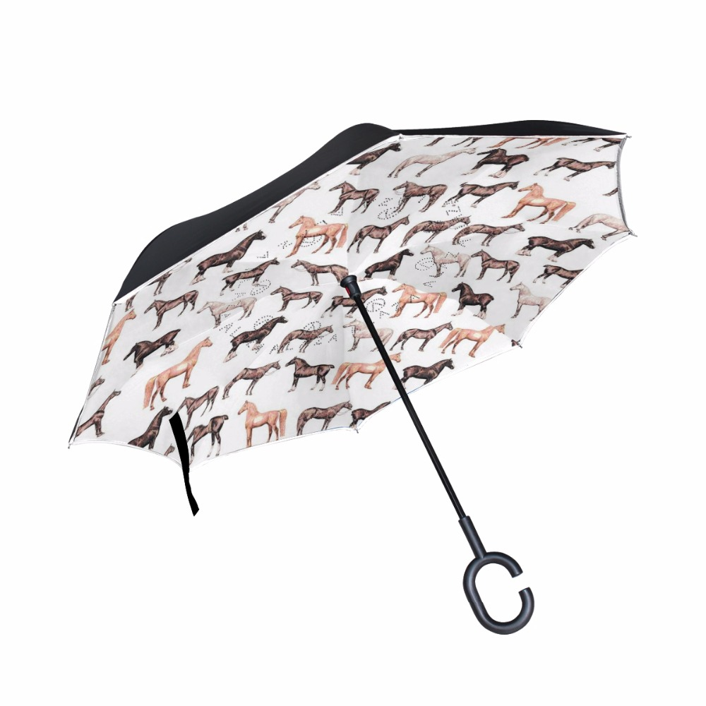 3D Vivid Horses Pattern Reverse Umbrella Double Layer Long