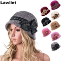 2016New available Fashion wool winter hats Mink Bucket Hats for Women Two Layer Nice Casual Cloche Female Cap A374