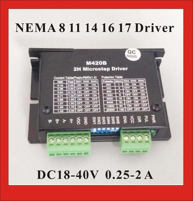 24VDC Stepper Motor Driver M420B For NEMA 8 11 14 16 17 Stepper Motor 0.25-2A DC18-40V