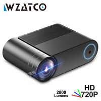 WZATCO MINI projecteur Y2 Android 9.0, 2800Lumens 1280x720 P, Portable HD projecteur LED Smart 3D projecteur Proyector pour Home cinéma