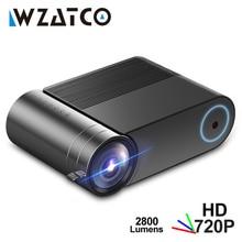 Wzatco mini projetor y2 android 9.0,2800lumens 1280x720p, portátil hd led projetor inteligente 3d beamer proyector para o teatro em casa