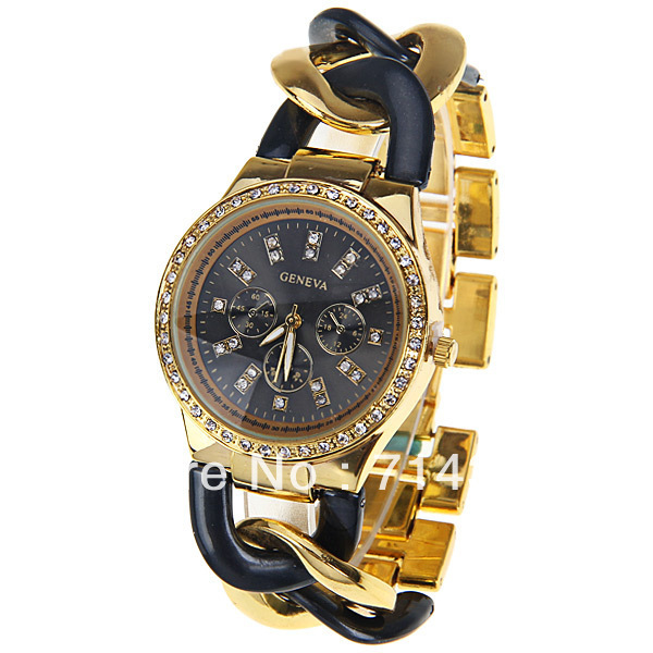 Original PictureGeneva Quartz Watch with Diamonds Strips Indicate Plastic and Steel Band for Women (Black)