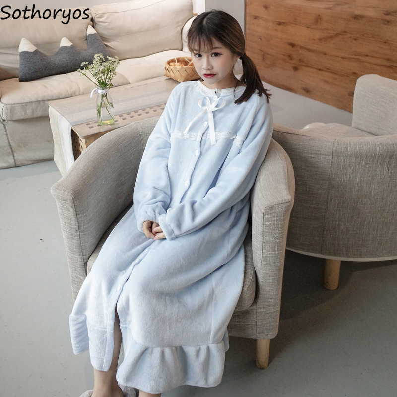 Nightgowns   Women Long Kawaii Korean Style Loose Thicker Warm Soft Solid Lace Daily Student Sleepwear Casual Womens   Sleepshirts
