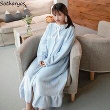 Ночные рубашки женские длинные Kawaii корейский стиль свободные толстые теплые мягкие однотонные кружевные повседневные студенческие пижамы повседневные женские ночные рубашки