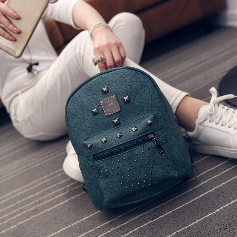 все цены на  Free Shipping Real Photo 2017 PU Mini Students Backpack with Rivets Cheap Women Backpacks Red Green Purple Black BB177  онлайн