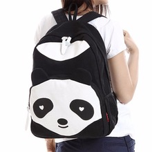 цены Fashion 3 Color Women Girl Canvas Backpack Cute Panda Rucksack Travel Shoulder School Campus Bag