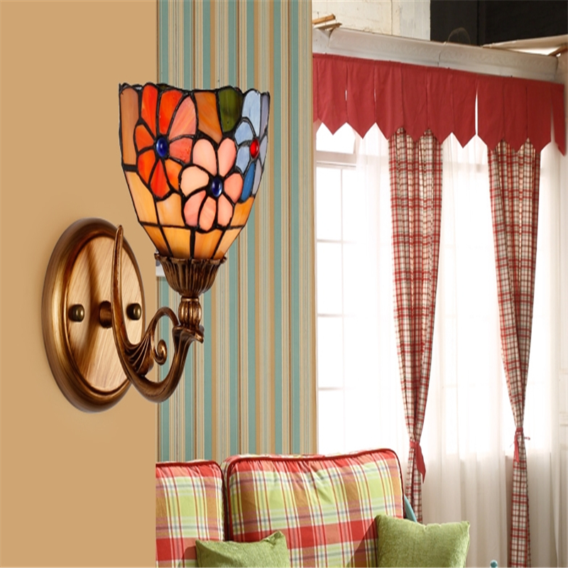 European-style stained glass wall lamp bedroom bedside lamp living room corridor porch decorative lamps WWL180 fumat stained glass lamp european style antique chandelier complex classic living room hotel glass art lamp curtains beads lamp