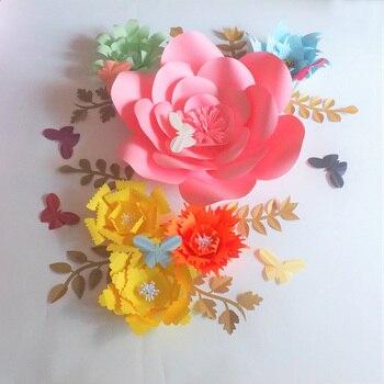 2018 DIY Aritificial Paper Flowers Backdrop Giant Flower Full Kits 6PCS+Leaves 8PCS+Butterflies 8PCS Wedding&Event Baby Nursery