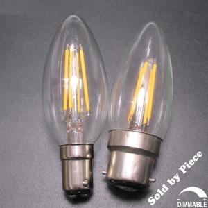 Маленькая/большая европейская байонетная крышка BC B15/B22 C35 в форме торпеды 2700K 220V 240V диммируемая Светодиодная лампа накаливания 2W 4W 6W