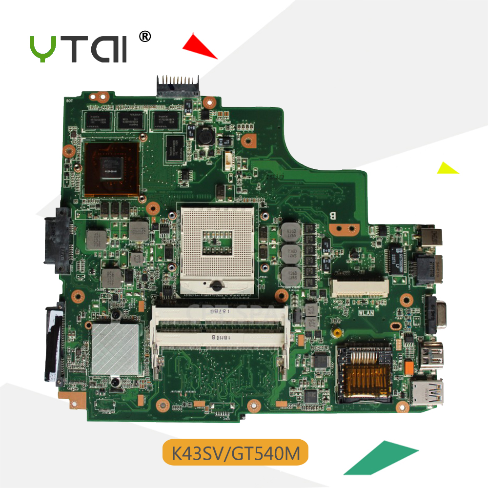YTAI K43SV REV:3.0 GT540M Mainboard for ASUS K43SV K43S K43SJ A43S A84S X43S K43SM laptop motherboard REV:3.0 USB3.0 GT540M free shipping 10pcs cctv connector plug bnc female to bnc female jack video adapter bnc connector