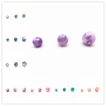 Wholesale 8/10/12mm 20-50pcs Acrylic Round Decorative Pattern Beads Loose Charm For Necklace Bracelet DIY Jewelry Making