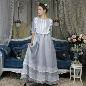 Image 3 - בציר אירופאי ארמון סגנון כתונת לילה ארוך כותנה הלבשת נשים תחרה לפרוע אפליקציות משובץ לילה ללבוש ויקטוריאני שמלת T296