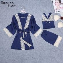 Women Sexy Silk Satin Robe Set Lace 3 Pieces Set Robe+Top+Short Summer Sleepwear Set Fashion Nightwear Soft Home Clothing