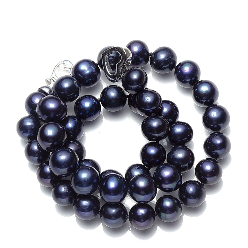 Aladdin Natural freshwater black 10-11mm pearl Necklace bracelet brass buckle Natural whorl beads trace Noble Mother gift diy