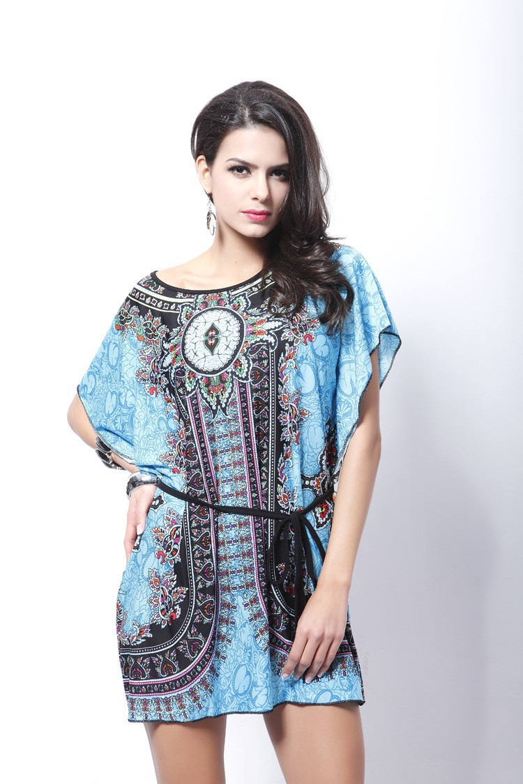 Vintage Dress 2017 New Summer Style Retro Print Boho Loose Casual Dress Bohemian Tunic Beach Dress Vestidos Plus Size Dress 15