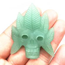 40mm natural stone crystal sculpture dongling jade skull healing free shipping