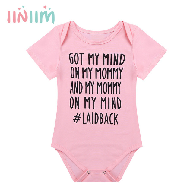 0ff50d6b3 Unisex Infant Baby Boys Girls Short Sleeves Letters Printed Got My Mind on  My Mommy Romper Baby Clothing for Birthday Party Wear