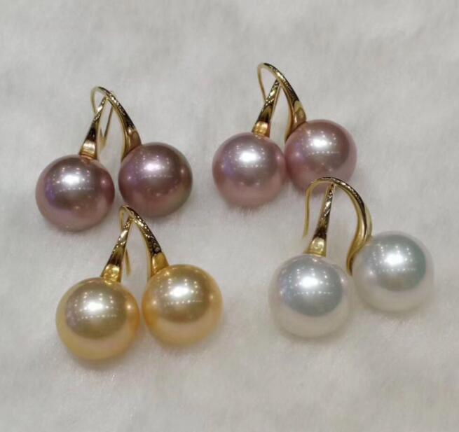 Free shipping 11 12mm white freshwater South Sea Pearl earrings 14 gold