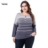 TUHAO 2018 Autumn Office Lady Plus Size 6XL 5XL 4XL Women's Blouses Striped Loose Vintage Female Blouse Shirts Work Tops ZPZ