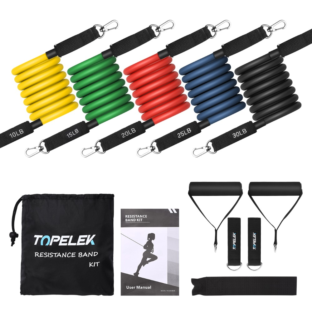 5 Level Resistance Band Kit Foam Handles Resistance Bands Benefit for Chest/Back/Shoulder Muscle 10 30lbs Fitness Equipment Gym