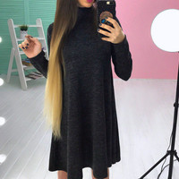 2018 Spring Casual Women Robe Loose Turtleneck Dress Solid Knitted Warm Long Sleeve Female Vestidos WS4707C