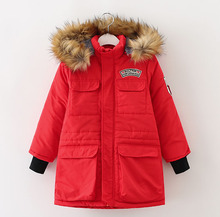 2016 winter boys and girls coats Children 's cotton warm zipper with fur on hooded pockets in  long plus thick coat