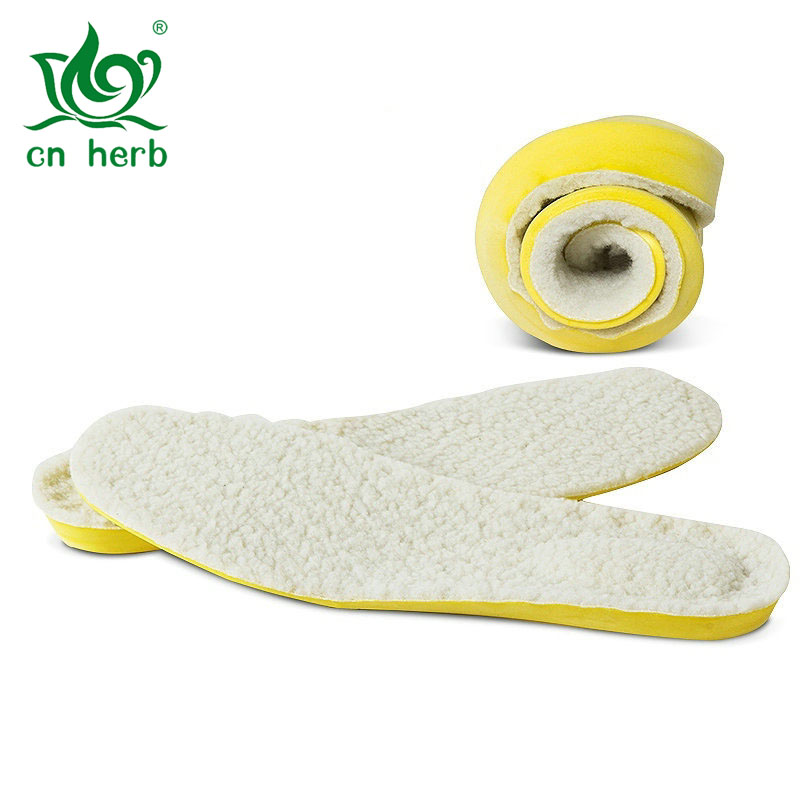 Cn Herb Thick Sweaty And Odorless Lamb Insole Pu Cushioning Wool Insoles