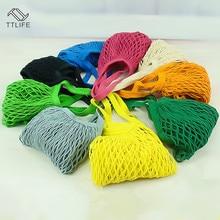TTLIFE Reusable Fruit Shopping Bag Green Portable and Convenient Supermarket Chain Cotton Woven Net 10 Colors