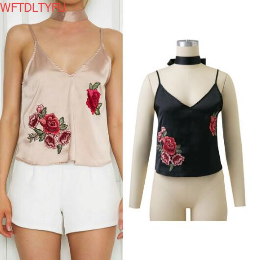 d5056027a9c80 WFTDLTYFU Summer Women Tops Black Embroidered Rose Patch Sexy Cami Top With Neck  Tie Clothing 2017 Vintage V Neck Satin Camisole-in Camis from Women s ...