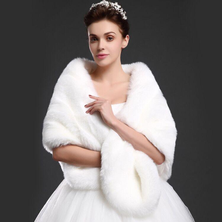 Nouveauté hiver mariée fausse fourrure châle imitation fourrure de renard wrap de mariage fourrure irréelle blanc noir rouge fausse fourrure de renard moelleux cape chaude