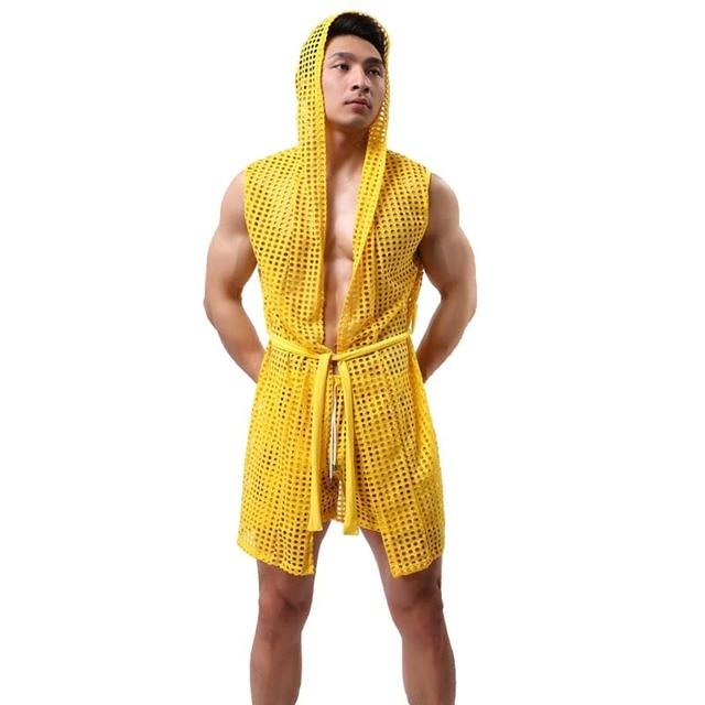 Men Sexy Fishnet Transparent Hooded Bathrobe Fashion Brand