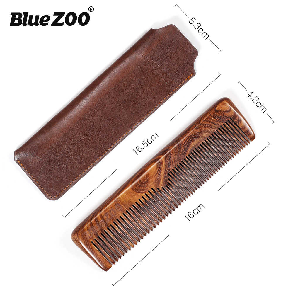 Blue Zoo Black Gold Sandalwood Men Care Comb Anti-Static Head Massage Hair  Care Free Leather Bag Beard Comb 8023