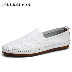 Image 1 - Brand Men Shoes Leather Casual Breathable Men Loafers Shoes Genuine Leather Soft Moccasins Driving Shoes Summer Shoes Size 47