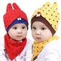 Primavera Outono Crianças Do Bebê Cap set Chapéu Do Bebê para a Menina e menino Chapéus Crianças Chapéu de Algodão Bibs Saliva Toalha Triângulo Lenço Principal conjunto